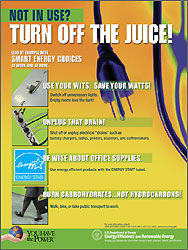 Energy Awareness Poster: Not in Use? Turn Off the Juice!