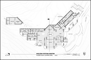 Floor plan of the lower level at the Eielson Visitor Center at Denali National Park.