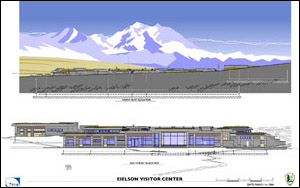 Illustration of third elevation of Eielson Visitor Center in Denali National Park.