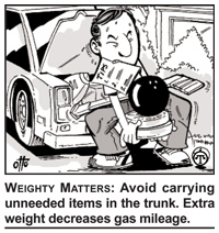 Image of a car owner removing heavy items from the truck. The caption says: Weighty Matters—Avoid carrying unneeded items in the trunk. Extra weight decreases gas mileage.