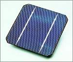 Photo of a Siemens Solar Industries crystalline silicon solar cell.