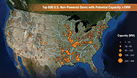 Map of the United States, showing the Top 600 U.S. Non-Powered Dams with potential capacity greater than 1 megawatts.